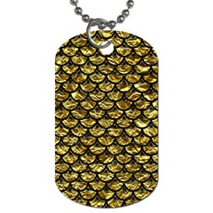 Scales3 Black Marble & Gold Foil (r) Dog Tag (one Side)