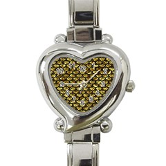 Scales3 Black Marble & Gold Foil (r) Heart Italian Charm Watch