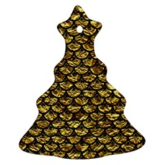 Scales3 Black Marble & Gold Foil (r) Christmas Tree Ornament (two Sides)