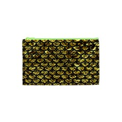 Scales3 Black Marble & Gold Foil (r) Cosmetic Bag (xs)