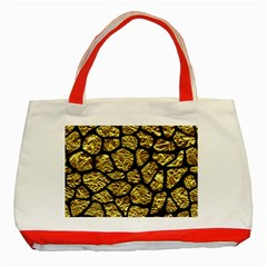 Skin1 Black Marble & Gold Foil Classic Tote Bag (red)
