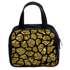 Skin1 Black Marble & Gold Foil Classic Handbags (2 Sides)