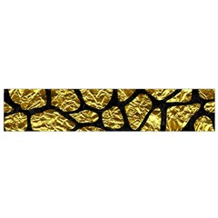 Skin1 Black Marble & Gold Foil Flano Scarf (small)