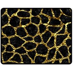 Skin1 Black Marble & Gold Foil (r) Fleece Blanket (medium)