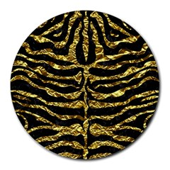 Skin2 Black Marble & Gold Foil Round Mousepads