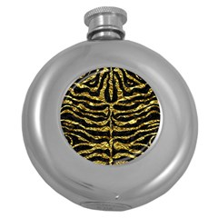 Skin2 Black Marble & Gold Foil Round Hip Flask (5 Oz)