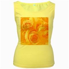 Flower Power, Wonderful Roses, Vintage Design Women s Yellow Tank Top