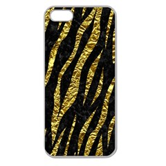 Skin3 Black Marble & Gold Foil Apple Seamless Iphone 5 Case (clear)