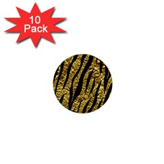 Skin3 Black Marble & Gold Foil (r) 1  Mini Buttons (10 Pack)