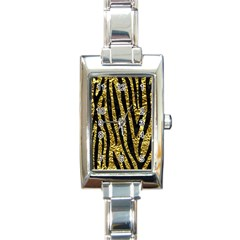 Skin4 Black Marble & Gold Foil Rectangle Italian Charm Watch