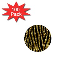 Skin4 Black Marble & Gold Foil 1  Mini Buttons (100 Pack)