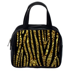 Skin4 Black Marble & Gold Foil Classic Handbags (one Side)