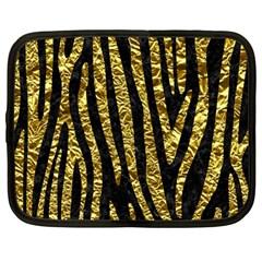 Skin4 Black Marble & Gold Foil (r) Netbook Case (large)