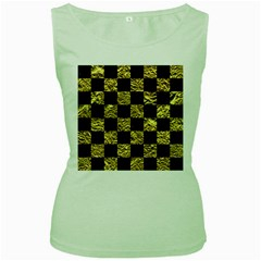 Square1 Black Marble & Gold Foil Women s Green Tank Top