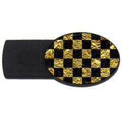 Square1 Black Marble & Gold Foil Usb Flash Drive Oval (4 Gb)