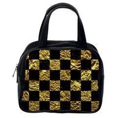 Square1 Black Marble & Gold Foil Classic Handbags (one Side)