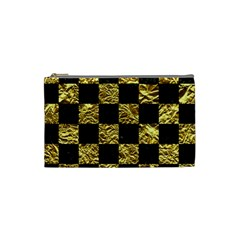 Square1 Black Marble & Gold Foil Cosmetic Bag (small)
