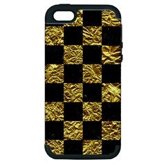 Square1 Black Marble & Gold Foil Apple Iphone 5 Hardshell Case (pc+silicone)