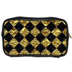 Square2 Black Marble & Gold Foil Toiletries Bags