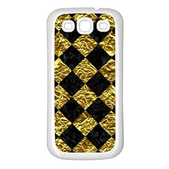 Square2 Black Marble & Gold Foil Samsung Galaxy S3 Back Case (white)
