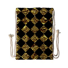 Square2 Black Marble & Gold Foil Drawstring Bag (small)