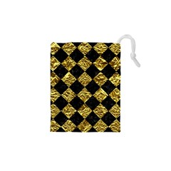 Square2 Black Marble & Gold Foil Drawstring Pouches (xs)