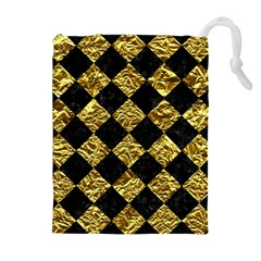 Square2 Black Marble & Gold Foil Drawstring Pouches (extra Large)