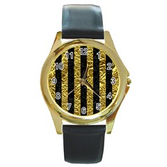 Stripes1 Black Marble & Gold Foil Round Gold Metal Watch