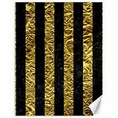 Stripes1 Black Marble & Gold Foil Canvas 12  X 16