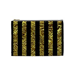 Stripes1 Black Marble & Gold Foil Cosmetic Bag (medium)