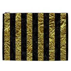 Stripes1 Black Marble & Gold Foil Cosmetic Bag (xxl)