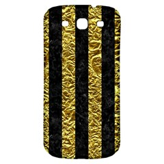 Stripes1 Black Marble & Gold Foil Samsung Galaxy S3 S Iii Classic Hardshell Back Case