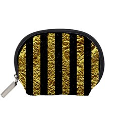 Stripes1 Black Marble & Gold Foil Accessory Pouches (small)