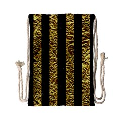 Stripes1 Black Marble & Gold Foil Drawstring Bag (small)