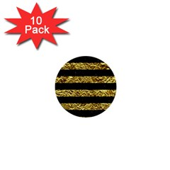 Stripes2 Black Marble & Gold Foil 1  Mini Buttons (10 Pack)