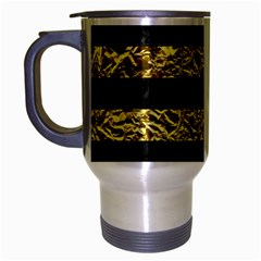 Stripes2 Black Marble & Gold Foil Travel Mug (silver Gray)