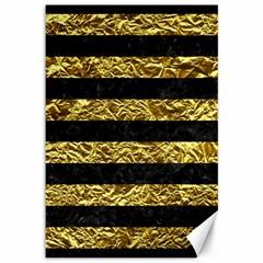 Stripes2 Black Marble & Gold Foil Canvas 12  X 18