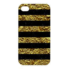 Stripes2 Black Marble & Gold Foil Apple Iphone 4/4s Premium Hardshell Case