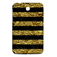 Stripes2 Black Marble & Gold Foil Samsung Galaxy Tab 3 (7 ) P3200 Hardshell Case