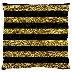 Stripes2 Black Marble & Gold Foil Large Flano Cushion Case (two Sides)