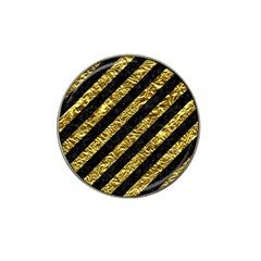 Stripes3 Black Marble & Gold Foil Hat Clip Ball Marker
