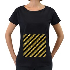 Stripes3 Black Marble & Gold Foil Women s Loose Fit T Shirt (black)