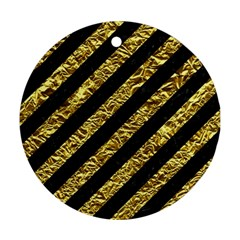 Stripes3 Black Marble & Gold Foil Round Ornament (two Sides)
