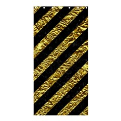 Stripes3 Black Marble & Gold Foil Shower Curtain 36  X 72  (stall)