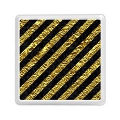 Stripes3 Black Marble & Gold Foil Memory Card Reader (square)
