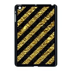 Stripes3 Black Marble & Gold Foil Apple Ipad Mini Case (black)