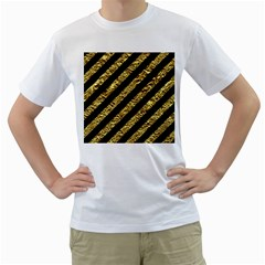 Stripes3 Black Marble & Gold Foil Men s T Shirt (white)