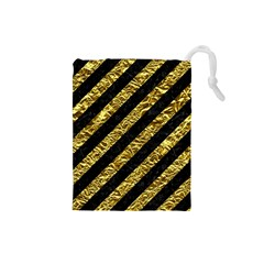 Stripes3 Black Marble & Gold Foil Drawstring Pouches (small)