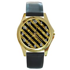 Stripes3 Black Marble & Gold Foil (r) Round Gold Metal Watch