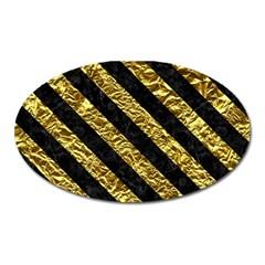 Stripes3 Black Marble & Gold Foil (r) Oval Magnet